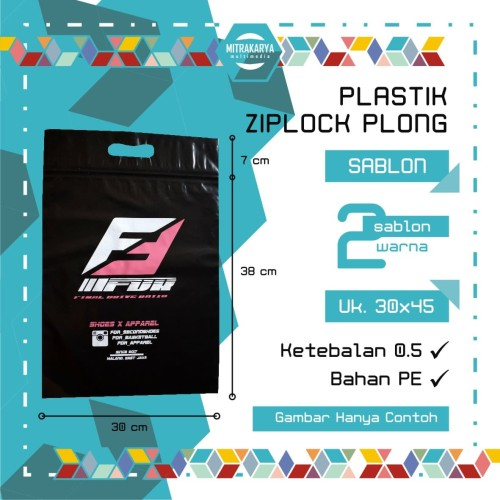 Foto Produk Tas Plastik Ziplock Plong Hitam Sablon 2 Warna 30 x 45 cm dari Mitra Grosir Plastik