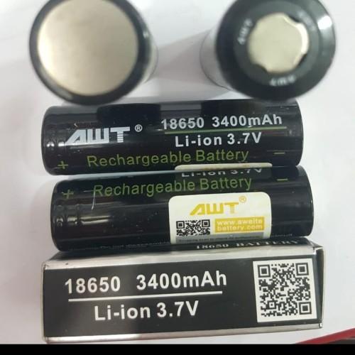 Foto Produk battery AWT Hitam 3,7V 3400mAH 40A 18650 flat baterai vapor vape vapin dari aneka barang murah 2