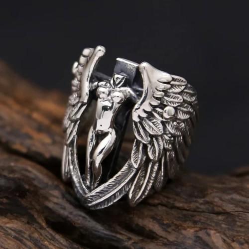 Foto Produk skull ring / cincin tengkorak import stainless steel 316L angel wings dari tokonline jakarta