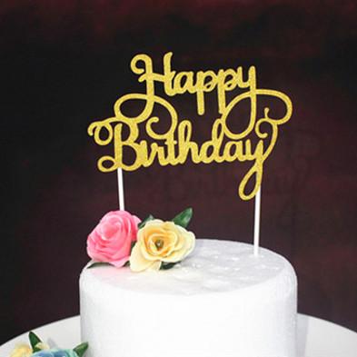 Foto Produk Cake Topper Happy Birthday HBD / Tusukan Hiasan Kue Tegak Acrylic dari Jual Grosir Online