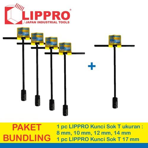 Foto Produk [BUNDLING] LIPPRO KUNCI SOK T SET 5 PCS 8 - 10 - 12 - 14 - 17 MM dari Lippro Tools