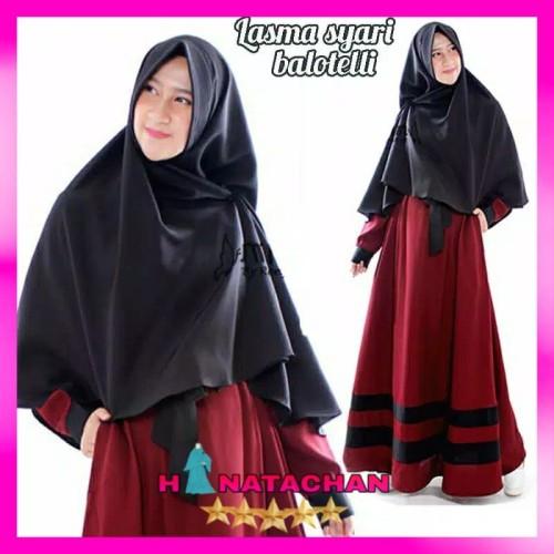 Foto Produk Lasma Set / Baju Gamis Syari Terbaru Dress Remaja Modern Free Khimar dari HINATACHAN