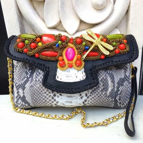 Foto Produk Clutch Kulit Ular Phyton Raisa Model Kipas S - Tas Pesta Natural Color dari Tas Kulit Cantik Bali