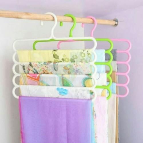Foto Produk Hanger Gantung 5 in 1 Gantungan Baju Pakaian Laundry HAnduk Towel Bath dari paffie shop