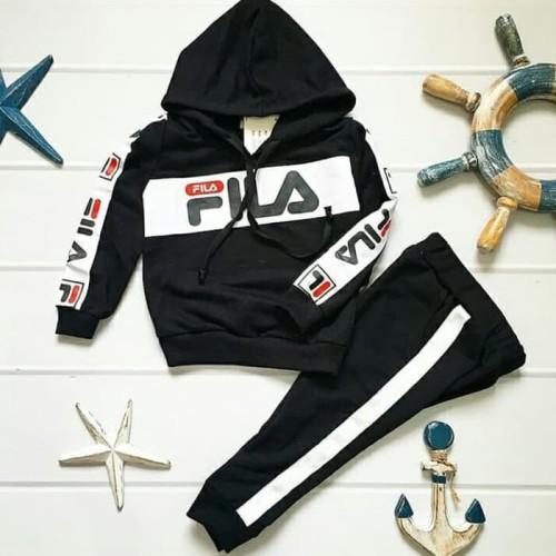 Foto Produk Baju Wanita Pakaian Perempuan Setelan.Hoodie Tone Fila Kid - Maroon dari belikaoscouple