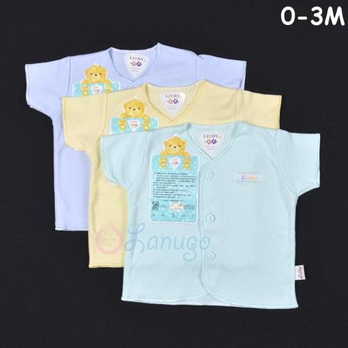Foto Produk LIBBY 3 Pcs Baju Lengan Pendek Bayi/Baby Warna newborn (0-3M) dari Lanugo