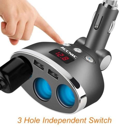 Foto Produk T3 Dual USB Car Charger 2 Port dengan 3 Socket Lighter dan LCD Display dari Tukura