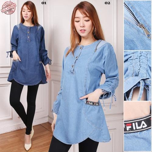 Foto Produk Atasan Blouse Qyara Kemeja Casual Tunik Jeans Wanita - Biru dari Angelsammy shop