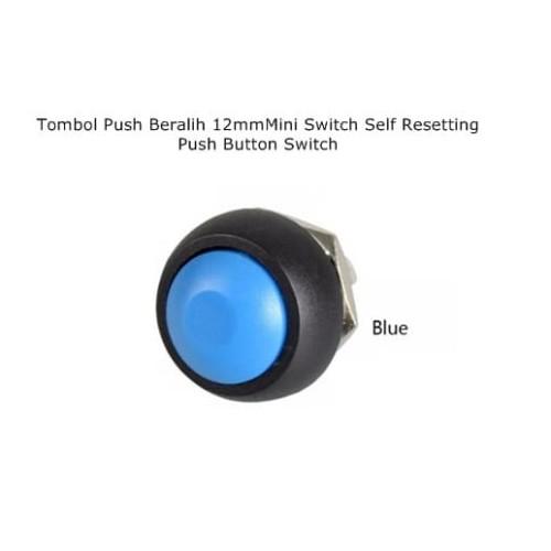 Foto Produk PBS-33B BLUE 12mm Waterproof Momentary ON / OFF Push Button Switch dari Arfa Arduino Robot