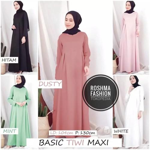 Foto Produk GAMIS FASHION SYARI MUSLIM BASIC TIWI MAXI WANITA MODERN TERLARIS dari roshma fashion
