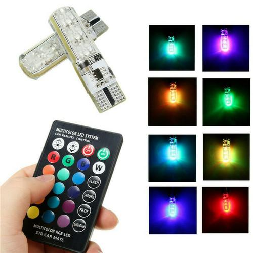 Foto Produk LAMPU LED T10 MOBIL MOTOR RGB 6 MATA JELLY ISI 2PCS + REMOTE + BATERAI dari Cahaya Abadi 88