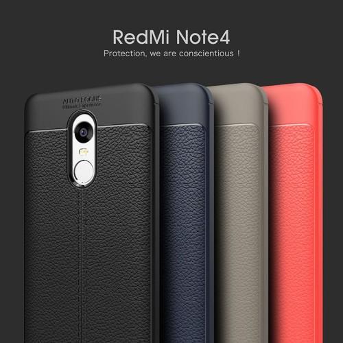 Foto Produk Xiaomi Redmi Note 4 Note 4X Case Luxury Ultra-Thin Soft Leather Design - Hitam dari CocaCase