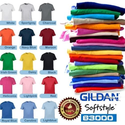 Foto Produk Kaos Baju Gildan Softstyle Colour 63000 warna Original GROSIR S M L XL dari Profesor Sablon