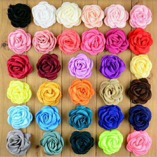 Foto Produk aplikasi bunga mawar satin/bahan bros/headband/souvenir dari azameehandmade