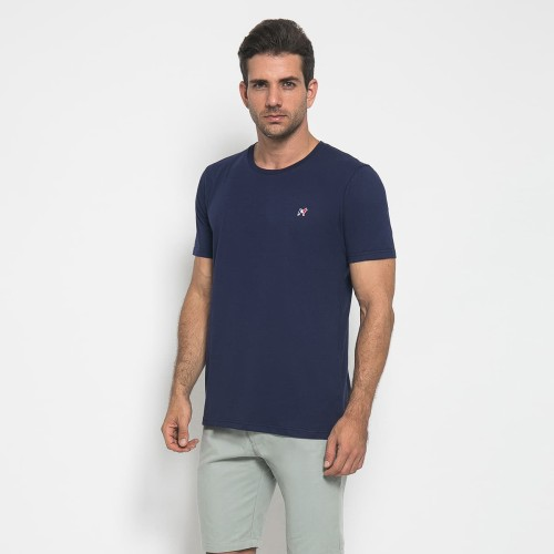 Foto Produk MON AKITA - Florian Men T-Shirt Navy - Kaos Lengan Pendek Biru Tua - Navy, L dari Mon Akita