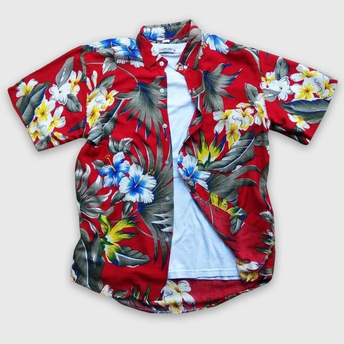 Foto Produk Kemeja Hawai - Kemeja Bunga Wanita - Kemeja Bunga Pria - Kemeja Pantai - Merah dari Rocket Bali