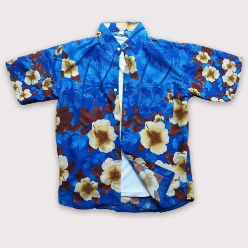 Foto Produk Baju Pria Terbaru - Baju Pantai Hawai - Baju Baju Motif Bunga Modern - Biru dari Rocket Bali
