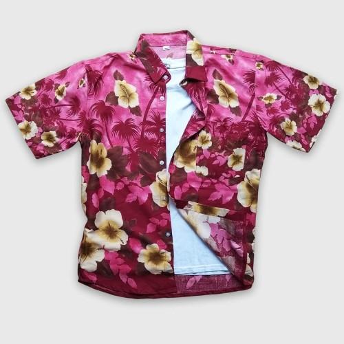 Foto Produk Baju Pantai Cowo - Baju Kemeja Pantai Hawai Bali - Baju Kemeja Hawai - Merah dari Rocket Bali