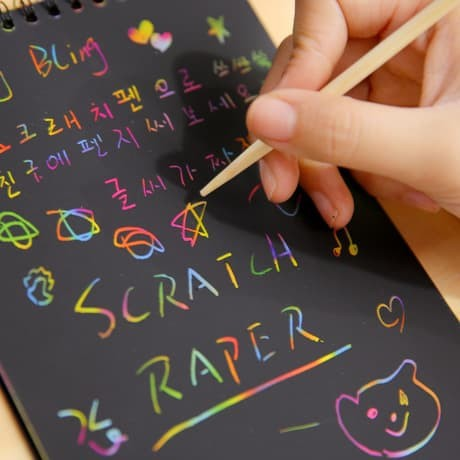 Foto Produk SCRATCH PAPER NOTE / GRAFITI PAPER NOTE / BUKU GAMBAR TODDLER & KID dari hafami olshop