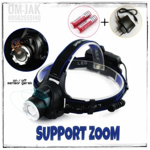 Foto Produk Paket Senter Kepala Sensor Gerak / Headlamp Cree XM-L T6 3000 Lumens dari om-jak