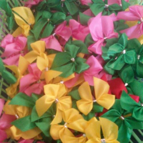 Foto Produk pita hiasan souvenir / aplikasi pita ditempel di mika / plastik - Biru dari AriCollection