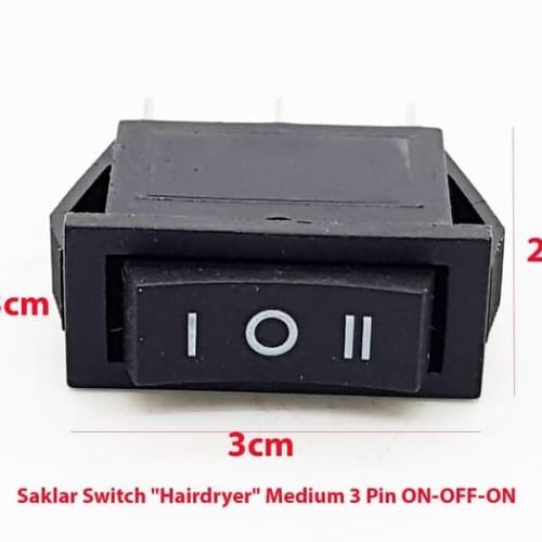 "Foto Produk Saklar Switch ""Hairdryer"" Medium 3 Pin (ON-OFF-ON) dari flipper"