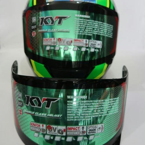Foto Produk Visor Flat Iridium Green KYT Rc7 R10 K2rider Original Ready Pinlock dari yogyakarta helmet