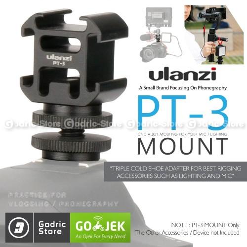 Foto Produk ULANZI PT-3S 3 Hot Shoe Mount Adapter Converter Base Microphone LED dari G-Rex