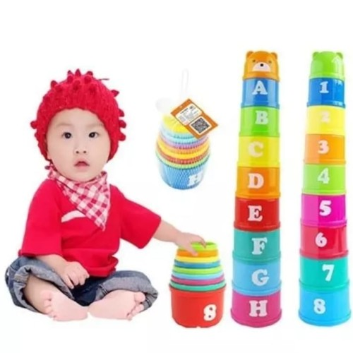Foto Produk Mainan Edukasi Anak PUZZLE STACKING CUP/MAINAN SUSUN CANGKIR WARNA dari lovely kayy