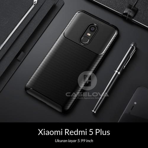 Foto Produk Case Xiaomi Redmi 5 Plus Synthetic fiber Silicone Protective Carbon - Hitam dari Caselova Store