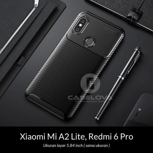 Foto Produk Case Xiaomi Mi A2 Lite / Redmi 6 Pro Synthetic fiber Protective Carbon - Hitam dari Caselova Store