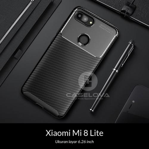 Foto Produk Case Xiaomi Mi 8 Lite Synthetic fiber Silicone Protective Carbon - Hitam dari Caselova Store