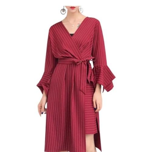 Foto Produk Striped Shirt Dress Women Summer Autumn V-neck Asymmetric Dress - Maroon, XL dari de wenwen