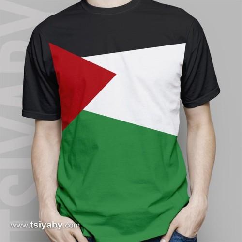 """Foto Produk Kaos Distro Palestina """"Flag"""" Lengan Pendek High Quality - Hitam, M dari Galeri Palestina"""