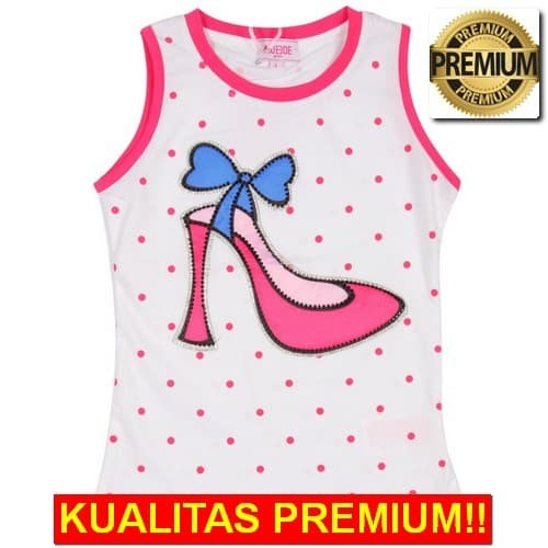 Foto Produk [ best seller] MOEJOE Polka Ribbon Heels Tank Top - Pink dari irfans1506