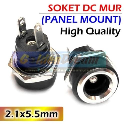 Foto Produk HQ Soket DC Mur 2.1x5.5mm Panel Mount Female Power Socket Plug In Jack dari VISITEK