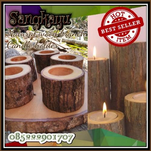 Foto Produk Rustic candle holder tea lights dekorasi tempat lilin kayu no elektrik dari Sangkayu