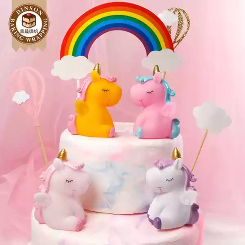 Foto Produk Topper kue cake topper hiasan kue unicorn kuda pony/mainan unicorn - Putih-Ungu dari kooci art