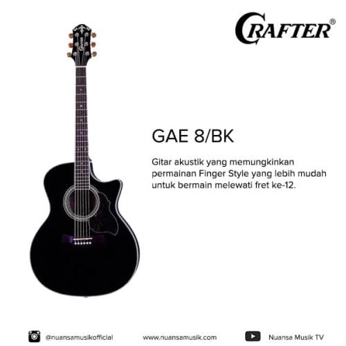 Foto Produk Crafter GAE 8/BK (W/SB-DG) Acoustic Electric Guitar dari Nuansa Musik