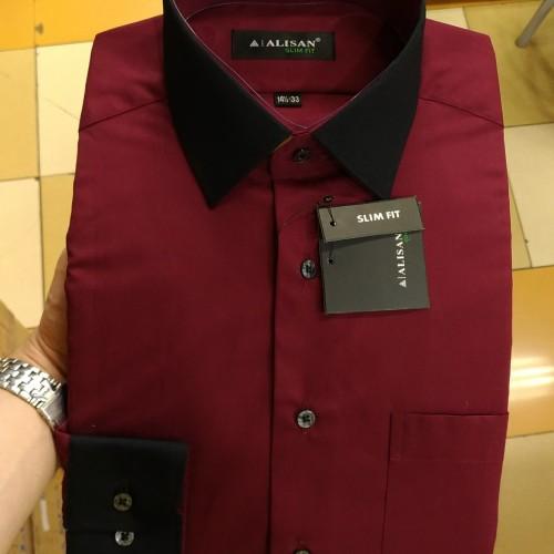 Foto Produk Kemeja Pria Alisan Merah Maroon kombinasi Hitam Slim fit panjang - Maroon, S dari Mega Hero Shirts