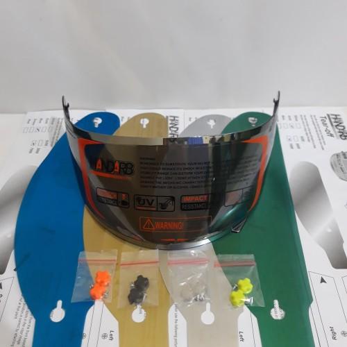Foto Produk paket flat visor + tear off +post pnp kyt r10, kyt rc7, iridium silver dari Anugerah Helmet