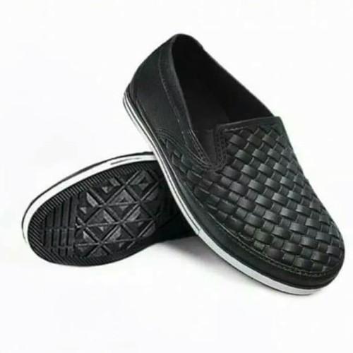 Foto Produk SALE Sepatu Pantofel Karet Sankyo 1125 Motif Tikar - Hitam, 41 dari Toserba online 99
