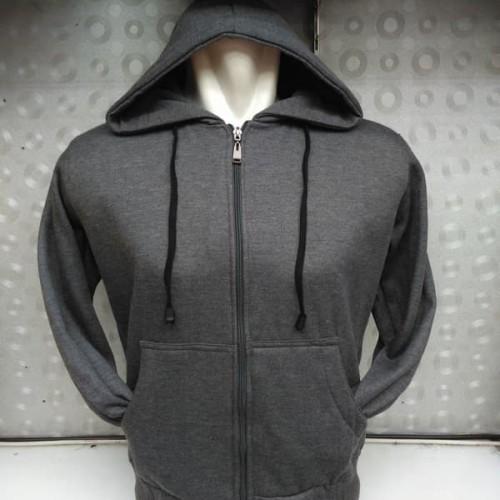 Foto Produk (PROMO) Jaket Hoodie Zipper Resleting Polos Abu-Abu Tua - Dark Grey - Abu -abu Tua, XL dari Hoodie Center