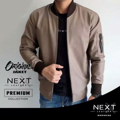 Foto Produk Jaket Pria Semi Kulit Changcuter Jaket Fashion Cowok Biker bomber - Mocca, L dari Nuruni Ad