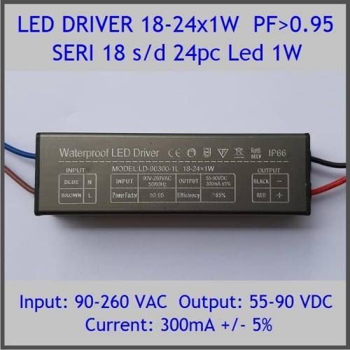 Foto Produk Led Driver 1W 300mA 18-24x1W PF 0.95 WP dari Hobi Led