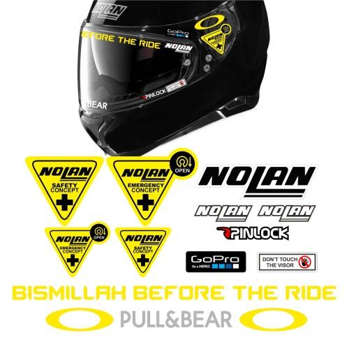 Foto Produk Paket Stiker Visor Helm ZEUS NOLAN HJC Bismillah Before The Ride - NOLAN dari @helm_nation
