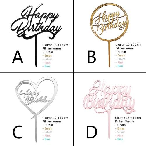 Foto Produk Cake Topper / Topper Kue Ulang Tahun - Happy Birthday - Akrilik dari Nail_Your_Art