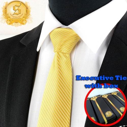 Foto Produk dasi kantor import pria warna kuning motif garis diagonal kilap dari SSE Trade Center