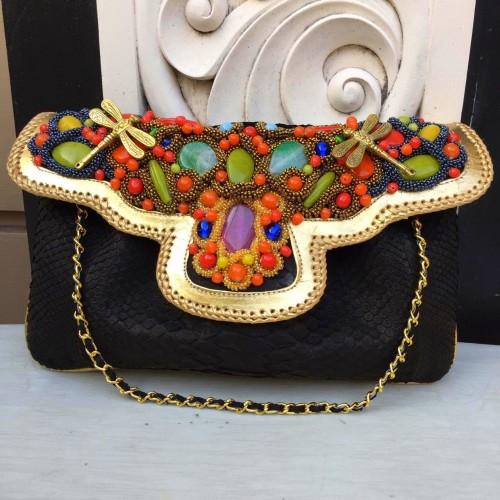 Foto Produk Clutch Kulit Ular Phyton Raisa Model Kipas XL - Tas Pesta Black Color dari Tas Kulit Cantik Bali