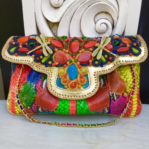 Foto Produk Clutch Kulit Ular Phyton Raisa Model Kipas XL - Tas Full Multi Color dari Tas Kulit Cantik Bali